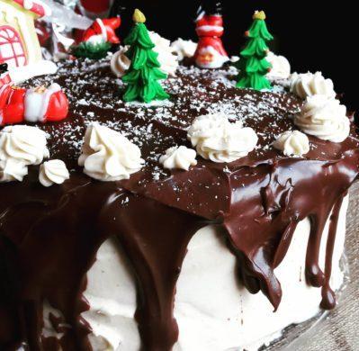 Torta Giuliana alla Nutella, con decorazioni natalizie e glassa al cacao